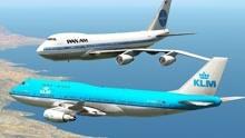 飞机模拟:两架波音747差点相撞